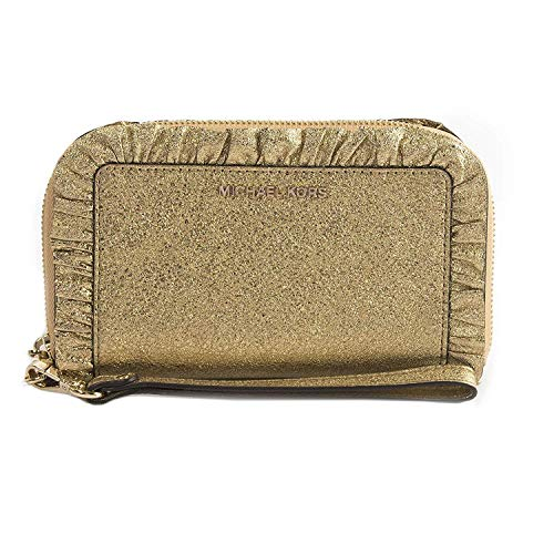 Michael Kors Large Flat Multifunctional Ruffled Leather Smartphone Wristlet Zip Around Leather Wallet (Gold)