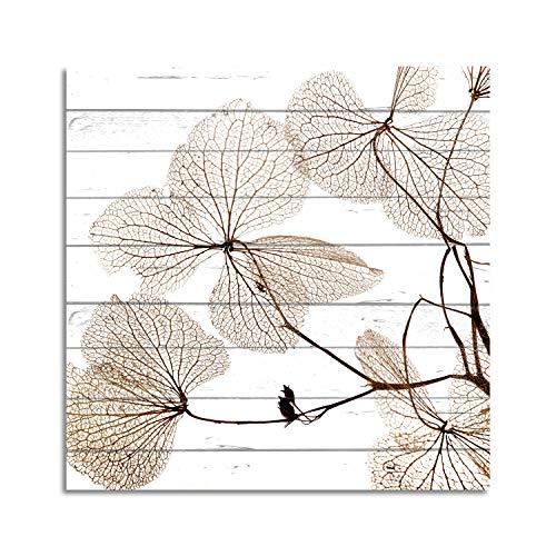 Cuadros Lifestyle Wandbild aus Holz | Holzbild | Shabby-Look | Landhaus | Pflanzen | Vintage | Geschenk, Größe:ca. 50x50 cm