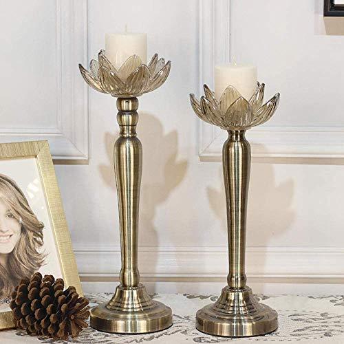 DWLXSH Retro Decorazioni Di Figura Del Loto Europea Candeliere Metallo Resistente Al Calore Candeliere Migliore For Coffee Table Decoration (Size : 34Cm)