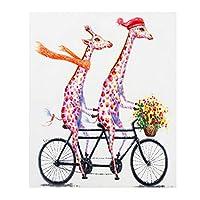 KIAJ 油絵 数字キットによる絵画 塗り絵 大人 手塗り DIY絵 デジタル油絵 40x50cm 自転車に乗るキリン (フレームレス)