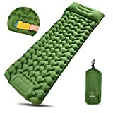 Sleeping Pad for Camping, Self-Inflating, AllynX Ultralight Inflatable Sleeping Mat, Airpad for Backpacking, Hiking, Durable Waterproof & Compact, Camp Pad Nap Mat (Blue&Green&Orange)