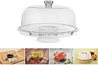 Amazing Cake Stand with Dome by Adorn home | Multifunctional Cake and Salad Server with 5 Compartment Tray or Center Dip Bowl | 6 Uses