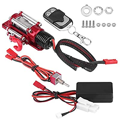 RC Car Winch with Remote Controller Accessories Set, 1/10 Scale RC Model Vehicle Crawler Metal Winch Kit