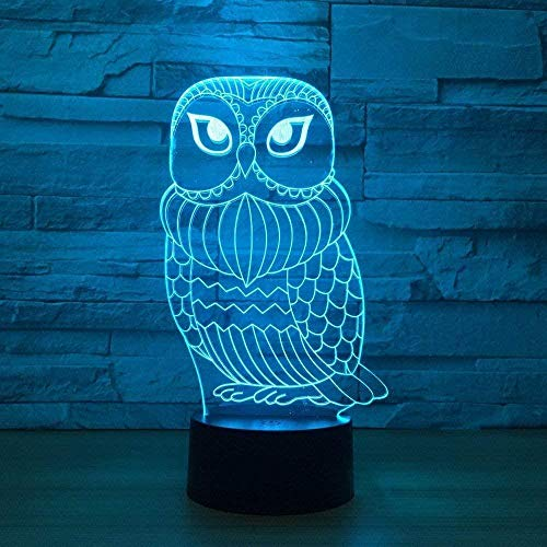 Cute Owl 3D Optical Illusion Lamps For Children Kids Suitable For Boys And Girls Bedroom Bar Living Room Birthday Christmas Gifts Usb Charging Touch Mode 7 Color Variations