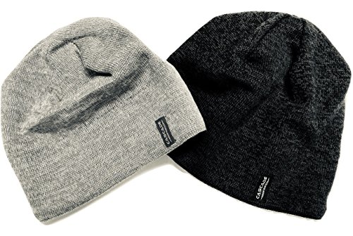 Cascade Mountain Tech Merino Wool Blend Beanie Hats for Men and Women - Outdoor Cold Weather - 2 Pack, Grey and Black