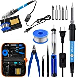 Soldering Iron Kit Electronics, 60W Soldering Welding Iron Tools with ON-Off Switch, 5pcs Soldering...