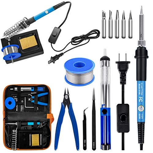 Soldering Iron Kit Electronics, 60W Soldering Welding Iron Tools with ON-Off Switch, 5pcs Soldering Iron Tips, Solder Sucker, Soldering Iron Stand, Tweezers, Solder Wire, Wire Cutter, PU Carry Bag