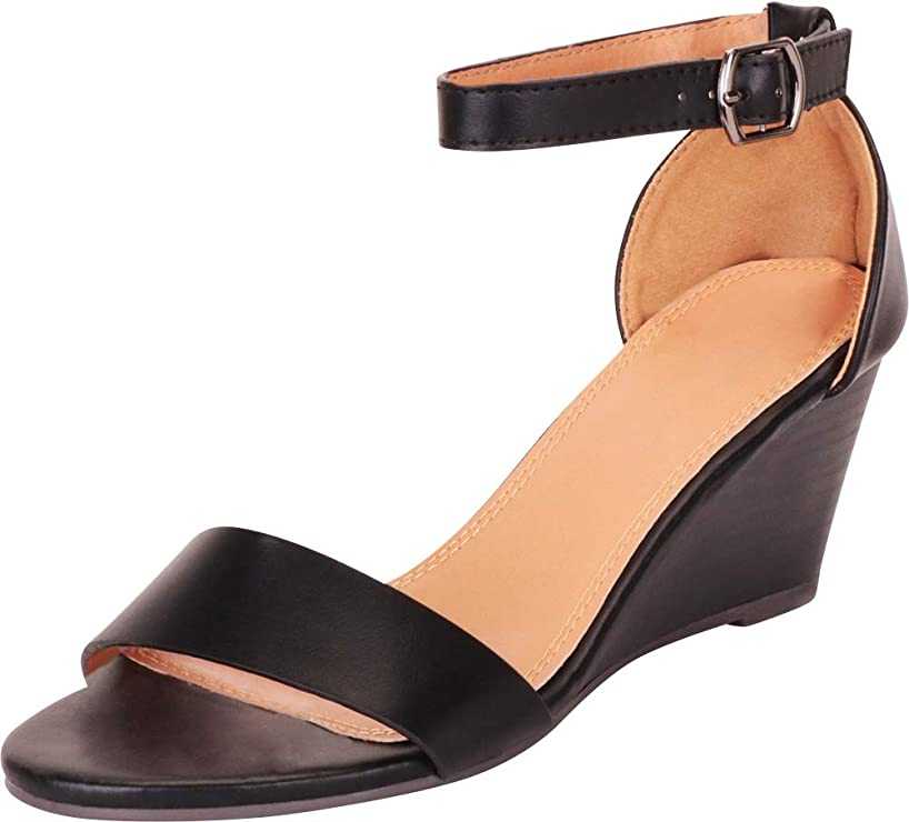 Cambridge Select Women's Classic Single Band Ankle Strap Chunky Mid Wedge Sandal