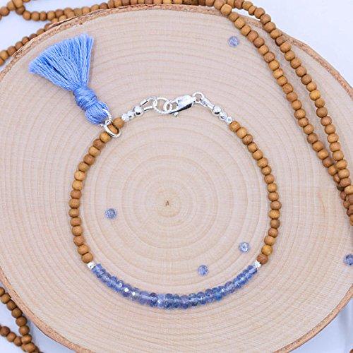 LKBEADS - Pulsera de tanzanita bohemia/pulsera de sándalo/pulsera de plata de ley con borla, apilable/piedra preciosa morada de 3 a 5 mm