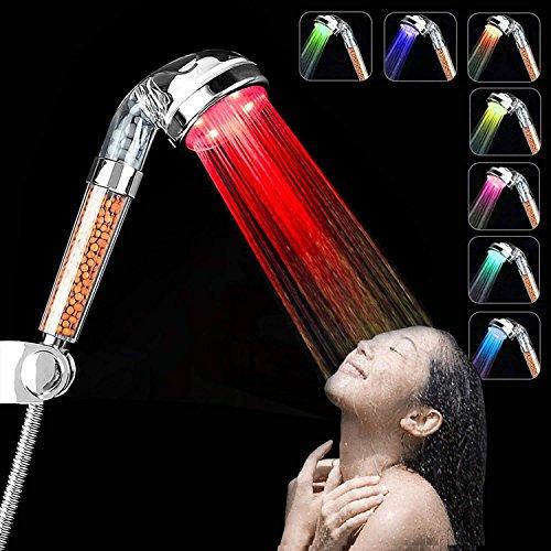 LED-Duschkopf, wassertemperaturabhängiger Farbwechsel, 3-farbig, Handheld-Duschkopf, Hochdruck-Spa-Duschkopf, Vorbeugung gegen trockene Haut und Haare, Negativ-Ionen-Sprinkler, Chlor, mehrfarbig