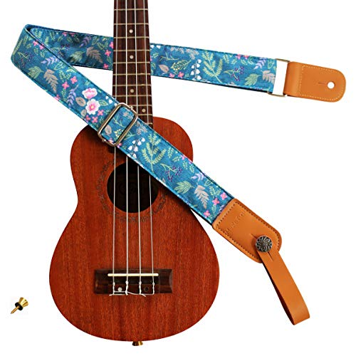 "MUSIC FIRST Original Design Vintage ""Dawn Fog Garden"" Soft Muslin & Genuine Leather Ukulele Strap Ukulele Shoulder Strap With a MUSIC FIRST Genuine Leather Strap Locker"