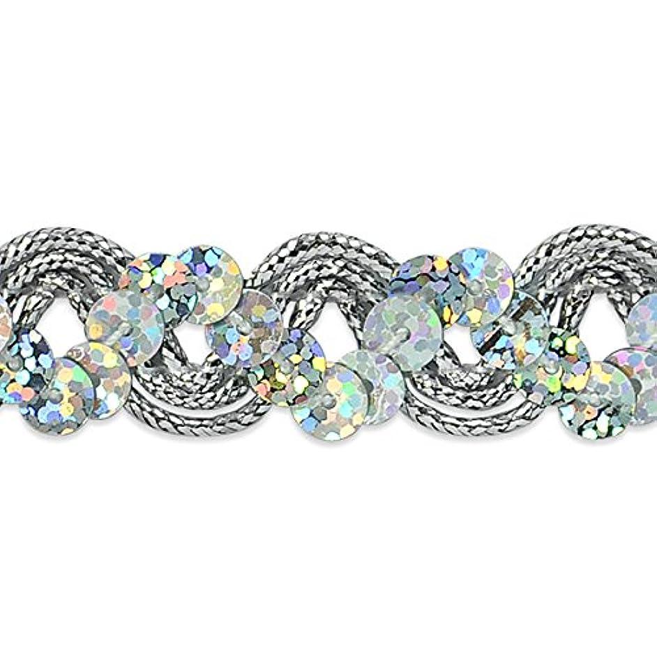 Expo International Reba Ric Rac Sequin Braid Trim Embellishment, 20-Yard, Silver