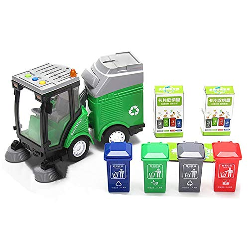 DIYARTS Garbage Sorting Toy Sweeping Car / Truck Toy with 4 Trash Cans + 108 Identification Card for Environmental Awareness Garbage Classification Awareness (Sweeping car)