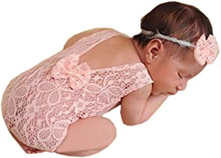 Newborn Baby Girl Photography Props Photo Shoot Outfits Infant Costume Lace Headdress Rompers