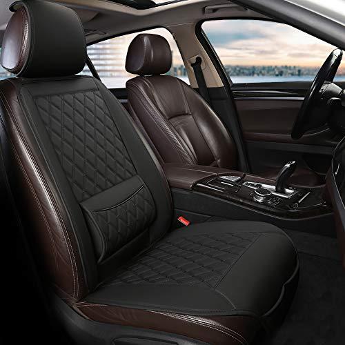West Llama Universal Fit Auto Sitzauflagen, Autositzbezüge Vordersitze mit Lordosenstütze und Kopfstützenabdeckung, Diamant (1 Stück - Schwarze)