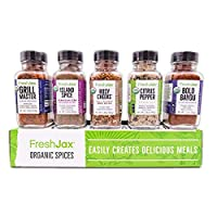 FreshJax Premium Gourmet Spices and Seasonings, Grill Accessories Gift Box, Organic All-Star Barbecue (5 Pack)