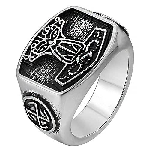 WYPAN Anillo de Martillo de Thor para Hombre, Nudo Celta Vikingo Mjolnir, Amuleto Vintage de Acero Inoxidable, Joyería de Dedo Pagana Escandinava,10