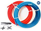 EFIELD PEX Pipe/Tubing (NSF Certified) BLUE&RED 3/4 inch 2X 100ft Rolls 200ft Length Potable Water with Pipe Cutter