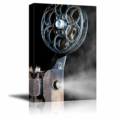 """Canvas Prints Wall Art - Vintage/Retro Style Movie Projector with The Film 