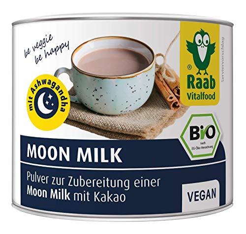 Raab Vitalfood Bio Moon Milk Pulver, vegan, wohltuender Schlummertrunk mit hochwertigem Ashwagandhawurzelpulver, 70 g Dose
