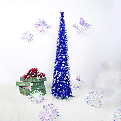 HYAN Christmas tree Artificial Tinsel Christmas Tree With Stand Gorgeous Collapsible Artificial Christmas Tree for Christmas Decorations Pencil Tree (Color : Blue)