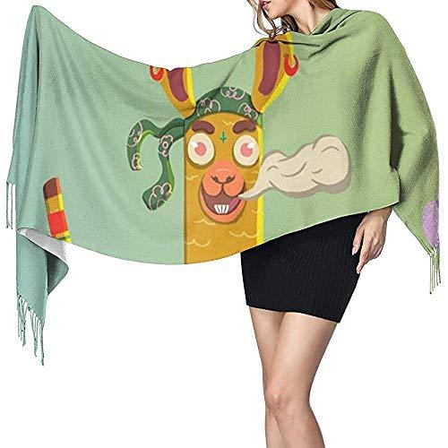 Bufanda de cachemir con estampado de alpaca fresca de dibujos animados para mujer Bufanda cálida informal Chal grande