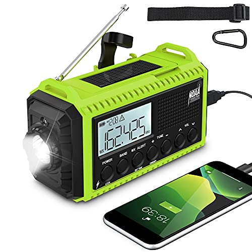Weather Radio 5000mAh Emergency Solar Hand Crank Radio AM/FM/SW NOAA Portable Survival Radio for Home and Outdoor Emergency with 5 Ways Powered, SOS Alarm, Flashlight, Reading Lamp USB Charge (Green)