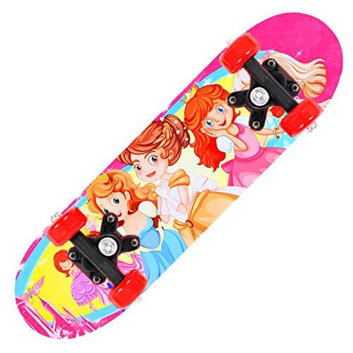 XJZSD Skateboard de Cuatro Ruedas para Principiantes Adolescentes para niños de Doble Cara de Dibujos Animados de Madera Scooter de Madera para niños Regalo de cumpleaños