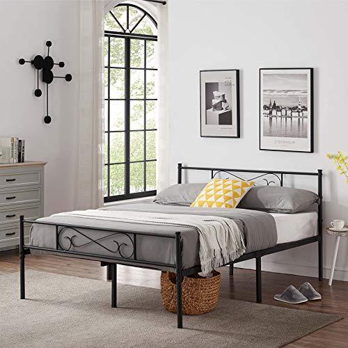 3ft/4ft 6 Cadre de lit,Cadre de lit en métal avec Les Nuages Motif, avec Grand Espace de Rangement et pour ou Adultes,Noir (140 * 190 cm)