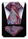 HISDERN Paisley Floral Tie para hombre Pocket Square Corbata y pañuelo Fiesta de boda Prom
