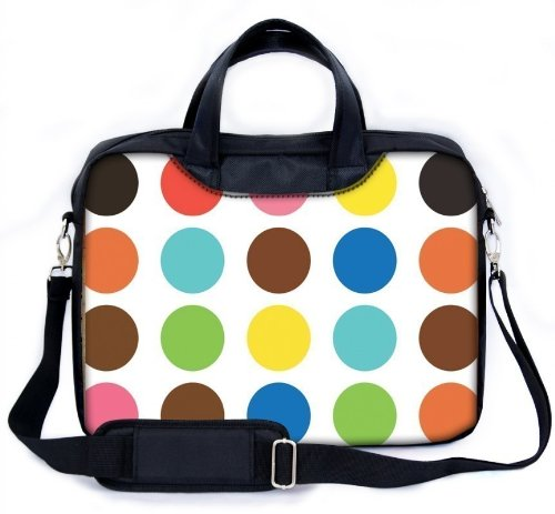 """MySleeveDesign 15 - 15.6"""" Notebook Carry Bag Laptop Bag with Shoulder Strap 13.3 Inch / 14 Inch / 15.6 Inch - SEVERAL DESIGNS - Colored Points"""