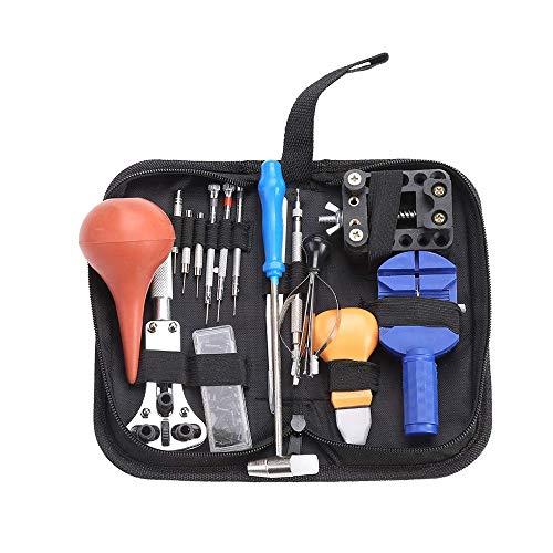 REY Kit de 16 Herramientas de Relojero para la Reparación de Relojes con Estuche
