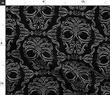 Spoonflower Stoff – Totenköpfe schwarz grau Halloween