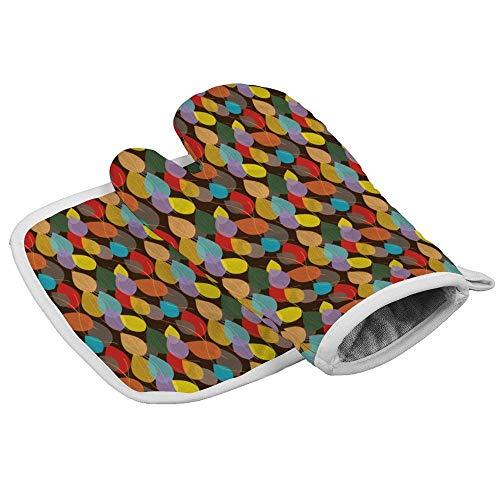 Guantes de horno resistentes al calor + 1 soporte para ollas de algodón, guantes de horno antideslizantes para cocina, hornear, barbacoa, asar a máquina (delicioso patrón de follaje)