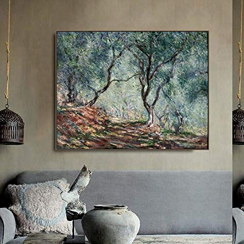 N / A Olive Tree on The Garden Print Canvas Painting Picture Home Decoration of Living Room Bedroom Frameless 60x80cm