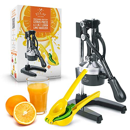 Zulay Professional Citrus Juicer - Manual Citrus Press and Orange Squeezer + 2 in 1 Metal Lemon Squeezer COMPLETE SET - Premium Quality Heavy Duty Manual Orange Juicer and Lime Squeezer Press Stand