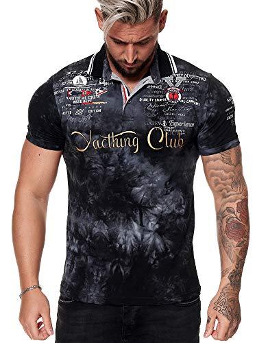 Herren T Shirt Yachting Club Poloshirt Polo Longsleeve Kurzarm Shirt Modell 3581 Schwarz L
