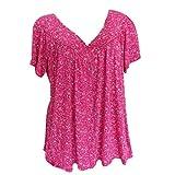 Camiseta de verano de manga corta con cuello en V, básica, de manga corta, holgada, para correr, para mujer, cómoda, monocolor, básica, informal, cuello redondo rosa M