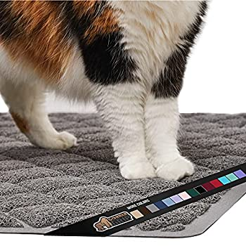 Gorilla Grip Original Premium Durable Cat Litter Mat 35x23 Large Jumbo Water Resistant Traps Litter from Box and Cats Scatter Control Soft on Kitty Paws Easy Clean Cat Mat Gray