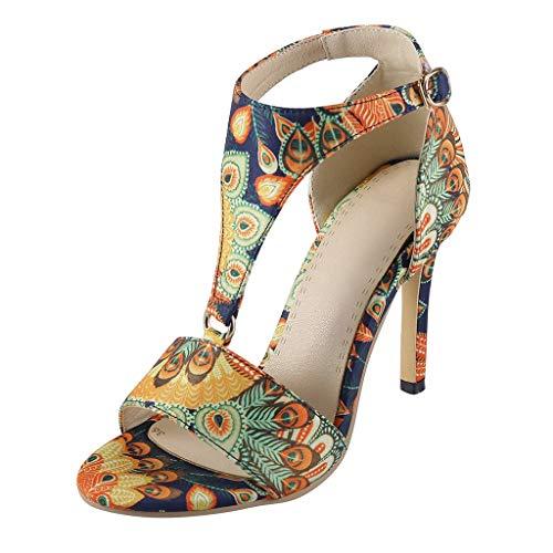 Toimothcn Women Vintage Ethinic Dashiki Pump Sandal Peep Toe Stiletto Heel Buckle Strap Pump Sandal(Yellow,6.5-7)
