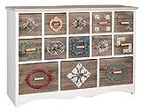 elbmöbel Kommode Sideboard Vintage aus Holz mit bunten Schubladen im Shabby-Chic Look