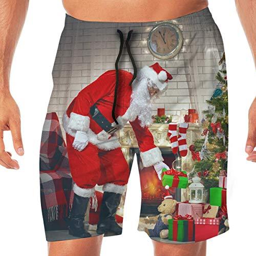 Heiligabend Kamin Weihnachtsbaum Geschenke Herren Beach Board Shorts Badehose Casual Gym Home Pants mit Tasche