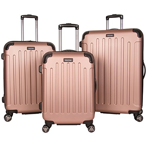 """Kenneth Cole Reaction Renegade 3-Piece Lightweight Hardside Expandable 8-Wheel Spinner Travel Luggage Set: 20"""" Carry-on, 24"""", 28"""" Suitcases, Rose Gold"""