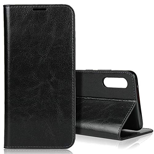 EATCYE für Samsung Galaxy A90 5G Hülle, [Echtleder] Handyhülle [Extra Dünn] Brieftasche flip Lederhülle Schutzhülle [Versteckt Magnet] Premium Design Echt Leder Brieftasche (Schwarz)