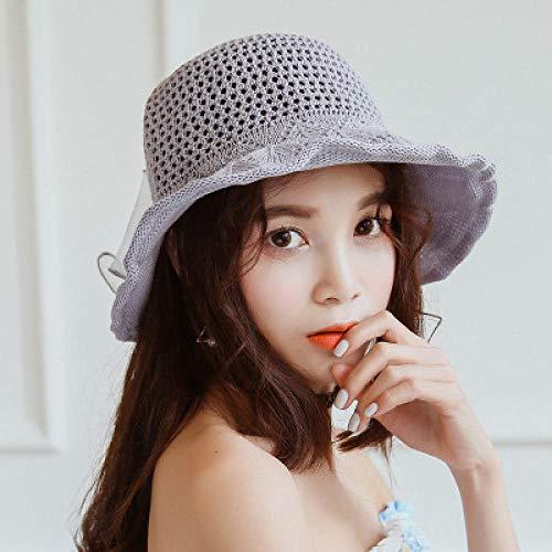 DZHUALEY Damen Sommer Sonnenhut Koreanische Mode Sonnencreme Hut Baumwolle und Leinen atmungsaktive Sonnenhut Outdoor Becken Hut grau