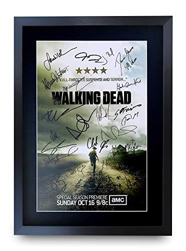HWC Trading The Walking Dead A3 Enmarcado Regalo De Visualización De Fotos De Impresión De Imagen Impresa Autógrafo Firmado por Ventiladores De Programa De TV