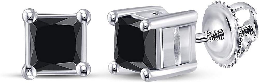 L?U 5 ☆ very popular DIAMONDS 10K White Gold Ear Solitaire Princess New Orleans Mall Black Diamond
