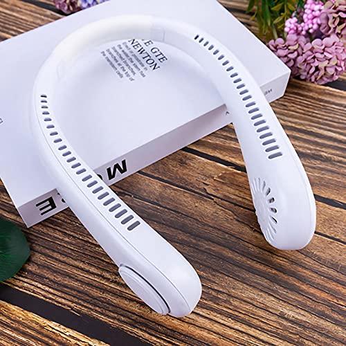 RHSMW Ventaglio Appeso al Collo, USB Frontless Grande Ventilatore Vento, Muto, Mini Tre velocità Regolabile, Casa, Interni Ed Esterni,Bianca