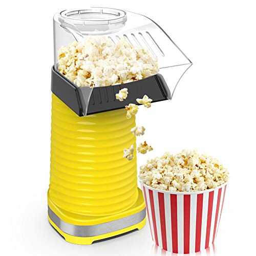 New 1200W Fast Hot Air Popcorn Popper With Top Cover, Electric Popcorn Maker Machine, Healthy & Deli...