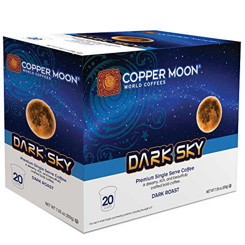 Copper Moon Coffee Single Serve Pods for Keurig 2.0 K-Cup Brewers, Dark Sky Blend, Dark Roast Coffee Rich and Dreamy with a Bold Taste, 20 Count